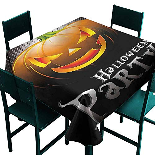 DONEECKL Polyester Tablecloth Halloween Party Theme Scary Pumpkin Soft and Smooth Surface W50 xL50]()
