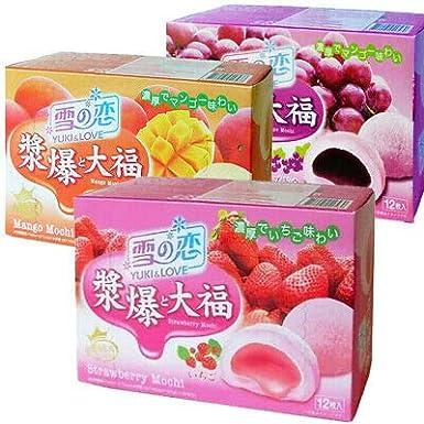Yuki & Love - Caja de 3 sabores de fresa, mango mochi japonés, postre Daifuku: Amazon.es: Alimentación y bebidas