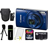 Canon PowerShot ELPH 190 IS 20.2MP 10x Zoom Wi-Fi Digital Camera (Blue) + 32GB Card + Reader + Case + Accessory Bundle