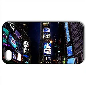 times-square-at-night - Case Cover for iPhone 4 and 4s (Modern Series, Watercolor style, Black) by lolosakes
