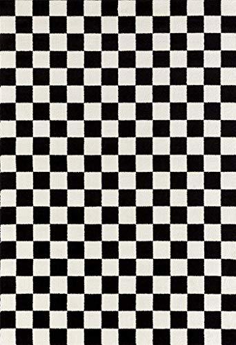 1909 Checkered Black and White 5 x 7 Area Rug Carpet ()