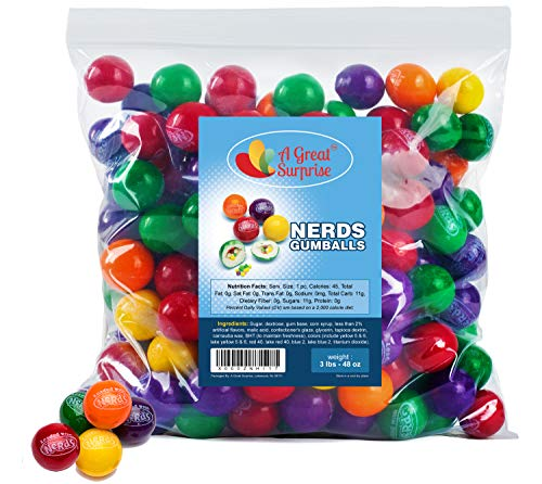 Nerds Filled Gumballs, 3 LB Bulk Candy, Approx. 150 Gumballs
