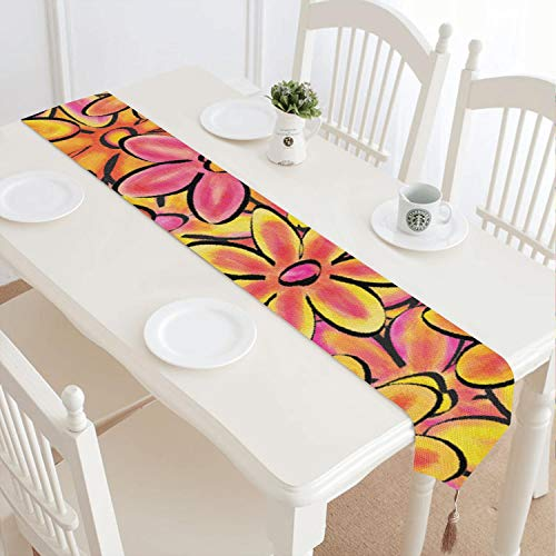 Multi Colored Daisy Flowers Aesthetic Image Reusable Pattern Fringed Cotton Tablecloth Suitable for Workbench Decoration