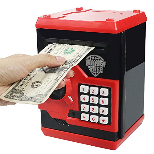 Elemusi Cartoon Electronic Password Mini ATM Piggy Bank Cash Coin Can Auto Scroll Paper Money Saving Box, for Children Kids (Red)