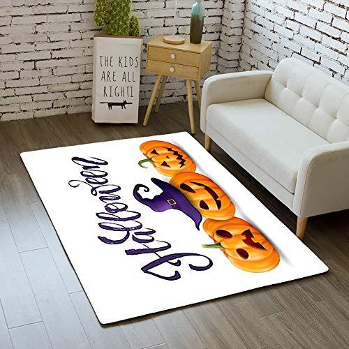 iBathRugs Door Mat Indoor Area Rugs Living Room Carpets Home Decor Rug Bedroom Floor Mats,Halloween Background Pumpkin Greeting Card -