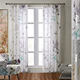 100% Natural Linen Sheer Lotus Butterfly (One Panel).42 by 120 Inches-Flower, Customizable