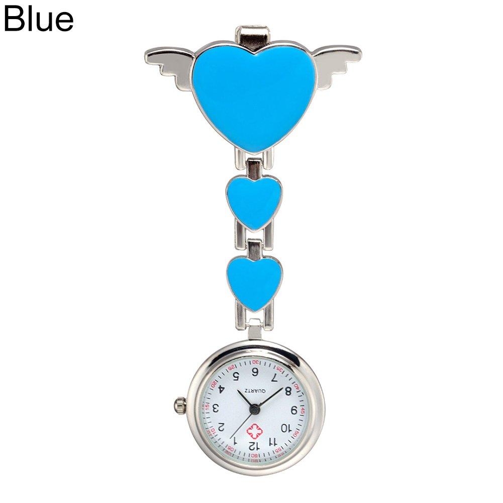 Gilroy Women's Love Heart Wings Nurse Clip Pocket Watch Medical Lapel Pocket Clasp Fob Watch