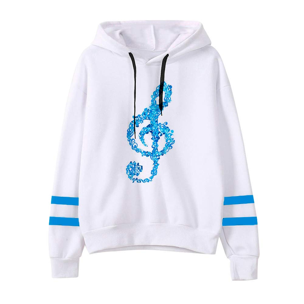 LILICAT Ladies Long Sleeve Jumper Hooded Casual Tops Womens Musical Notes Printed Hoodie Sweatshirt Fashion Hooded Pullover Tops Blouse Winter Autumn