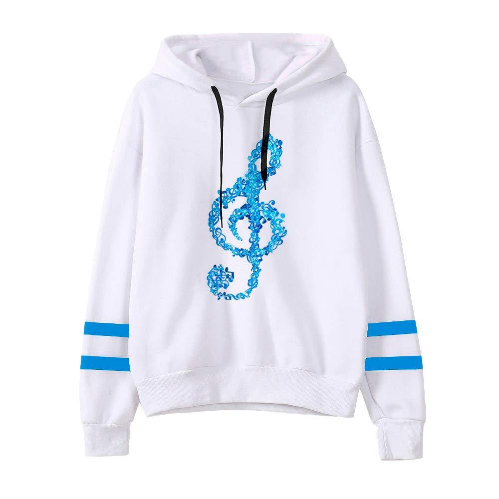 KaloryWee Winter Sale Clearance 2018 Womens Musical Notes Long Sleeve Hoodie Sweatshirt Hooded Pullover Tops Blouse