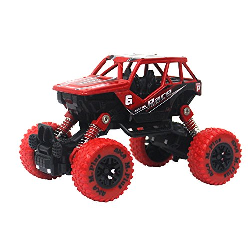 Jellydog Toy Monster Truck, Pull Back Vechile, Metal Friction Powered Monster Jam Cars, Big Wheel Buggy, 1:32 Scale Die Cast Vehicle, Shock Springs Toys car for boys toddler, Red