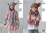 King Cole Girls Scarf, Snood, Hat & Mittens Bamboozle Knitting Pattern 4391 Chunky by King Cole