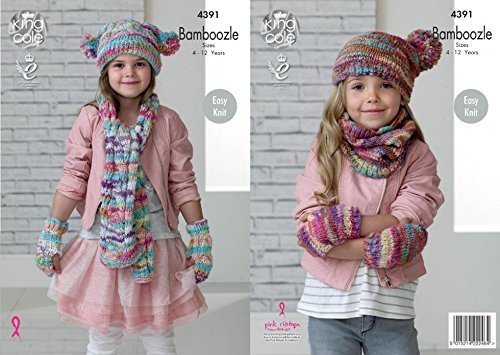 King Cole Girls Scarf, Snood, Hat & Mittens Bamboozle Knitting Pattern 4391 Chunky by King Cole by King Cole