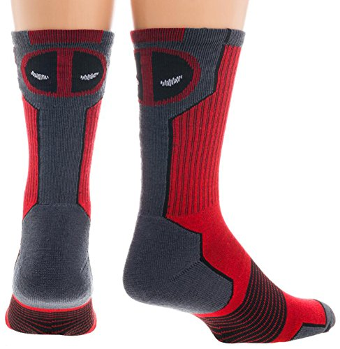 Marvel Deadpool Mens' Active Crew Socks (Sock Size: 10-13 - Shoe Size: 8-12) (Heroes And Villains Clothing)