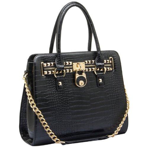 MG Collection Haley Studded Structured Satchel Shoulder Bag, Black Crocodile, One (Studded Satchel Bag)