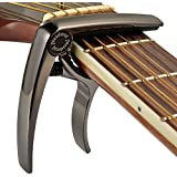Premium Deluxe Guitar Capo for Acoustic and Electric Guitars - Also for Classical Guitar, Ukulele, Bass, Banjo & Mandolin - Lightweight Aluminum Metal (Black)