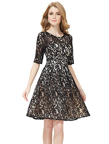 Ever-Pretty-Womens-34-Sleeve-Padded-Lace-Round-Neck-Vintage-Party-Dress
