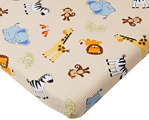 (Bedtime Originals Jungle Buddies Sheet, Brown/Yellow)