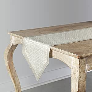100% Pure Linen Jacquard Table Runner Venus, Natural Fabric Handcrafted 14 x 90 Inch Pointed Table Runner by Solino Home