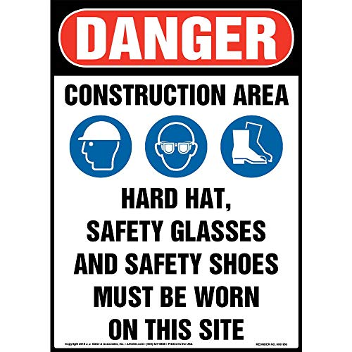"Danger: Construction Area, PPE Must Be Worn Sign - J. J. Keller & Associates - 10"" x 14"" Plastic with Rounded Corners for Indoor/Outdoor Use - Complies with OSHA 29 CFR 1910.145 and 1926.200"