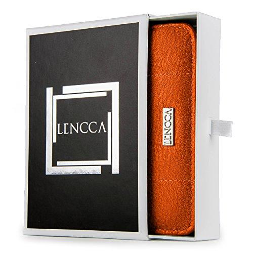 Lencca Kymira II ORANGE TAN Vegan Leather Flip Wallet Case Cover fits Samsung Galaxy : A7 A5 , J5 J7 , S6 / Active S6 Edge , Edge Plus + , Note Series , Z3 , On5