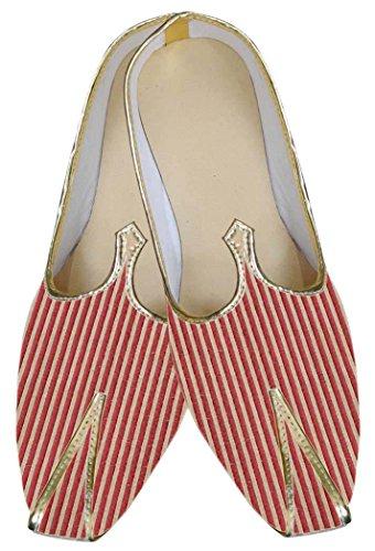 INMONARCH Mens Red Brocade Shoes Wales Design MJ0061 TEkAgiN