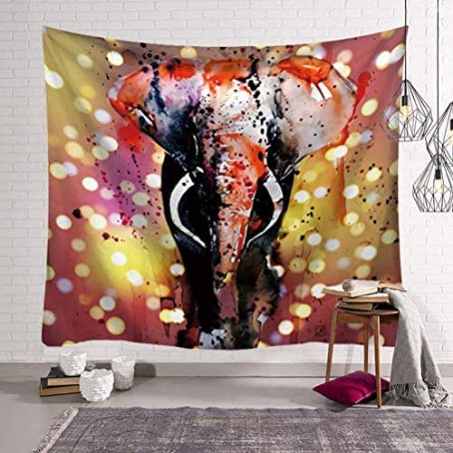 Vic Gray Indian Elephant Wall Carpets Print Throw Yoga Mat Home Bedroom Background Decor Mandala Tapestry,200x150cm 79x59inch