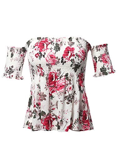 Floral Print Off The Shoulder Flounce Top Ivory M