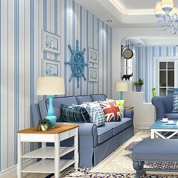 UCCUN Modernes Schlafzimmer Blau und Weiße vertikale Streifen ...
