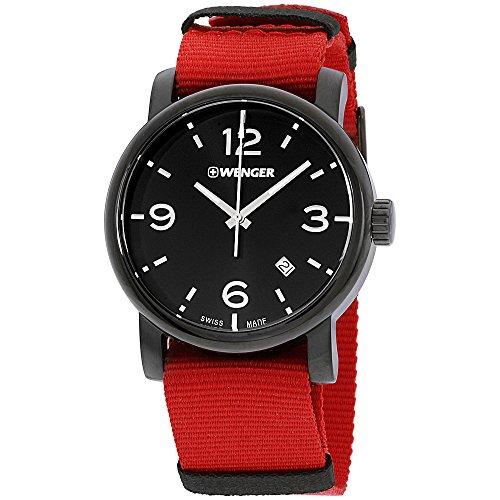 Wenger Men's Urban Metropolitan Stainless Steel Swiss-Quartz Watch with Nylon Strap, red, 22 (Model: 01.1041.132)