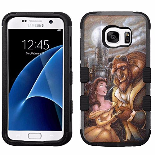 for Samsung Galaxy S7, Hard+Rubber Dual Layer Hybrid Heavy-Duty Rugged Armor Cover Case – Beauty and the Beast #T