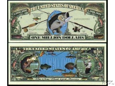 Set of 10 Million Bills-Fishing Million 10 Dollar Bill f26653