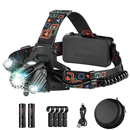 Rechargeable Headlamp, Headlight Flashlight with 4 Lighting Mode, USB & Batteries Powered Waterproof Head Lamp, 360°Adjustable Sidelight LED Helmet Lamp with 4 Clips for Camping, Hiking, Fishing