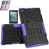 Mignova case for The Amazon Fire HD 8 Tablet (7th and 8th Generation, Released 2017/2018) - Hybrid case [Slip] [Built-in Bracket] + Screen Protector and Stylus (Purple)