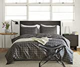 CoutureBridal 3 Pieces Grid Duvet Cover Set Twin 60x90 Grils Women Dark Grey Checked Geometric Natural Bedding Quilt Cover Set with Zipper Ties-1 Duvet Cover 1 Pillowcases