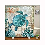 Beydodo Shower Curtains for Women with Turtle Pattern 72x77in Polyester Shower Curtain with Picture