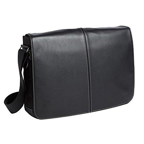 Boconi Tyler Tumbled Slim Mailbag Messenger (Black with Khaki)