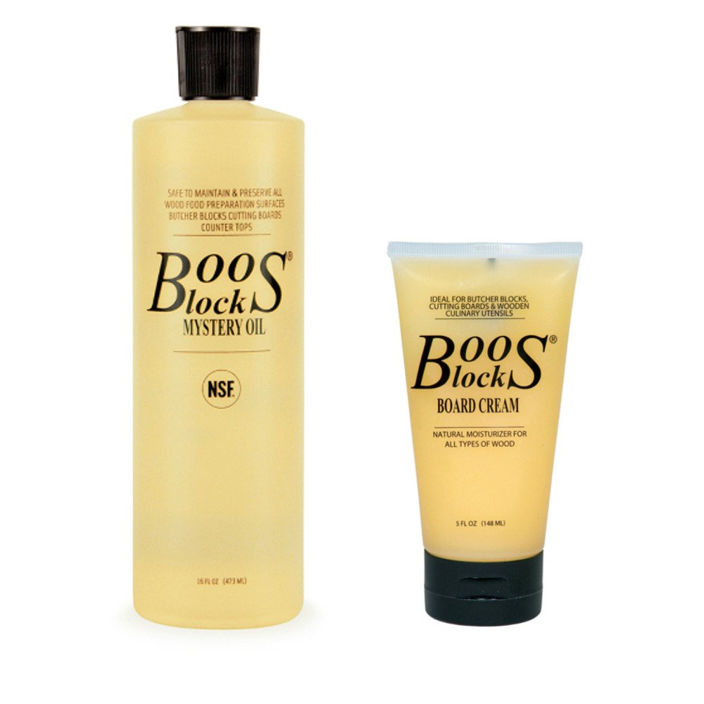 John Boos Cutting Board Oil and Cream Set: Includes One 16 Ounce Bottle Mystery Oil and One 5 Ounce Tube Board Cream