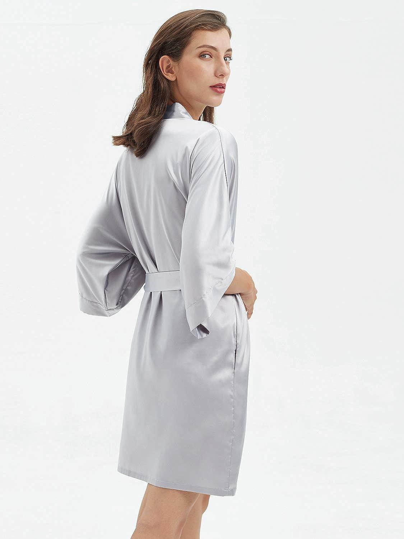 SIORO Womens Satin Robe,Silky Kimono Bathrobe for Bride Bridesmaids,Wedding Party Loungewear Short XS-XXL