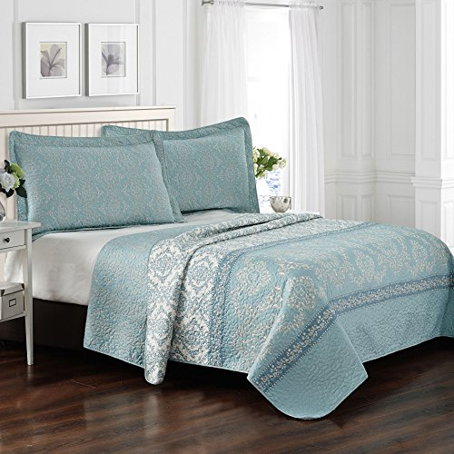 Home Soft Things Serenta 3 Piece Printed Microfiber Quilts Coverlet Set, King, Mystic Teal Turquoise (King Bedspread Teal)