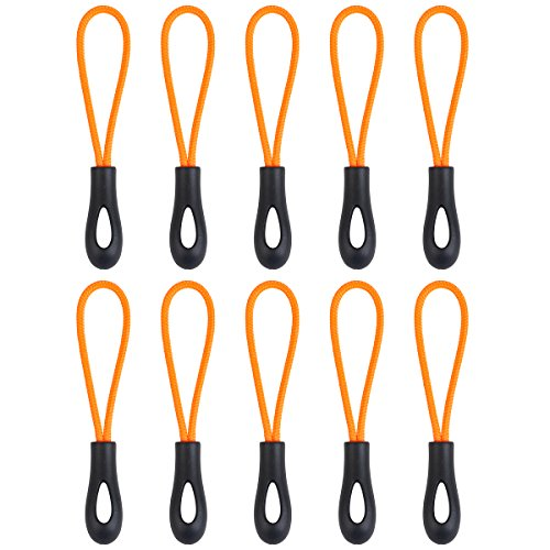 [10] New Style Zipper Pulls - Strong Nylon Cord with Ergonomically Designed Rubber Gripper Pull to Fit Any Zipper Materials-Zipper Fixer-by NEO Tactical Gear (Black/Orange) (Zipper Pull Bottle Opener compare prices)
