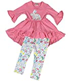 Little Girl Kids Long Sleeves Rabbit Floral Flower Hi Lo Dress Pants Set Pink 4 M 201206