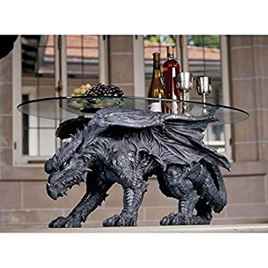 Greek Drakon Serpent Dragon Side Table Furniture With Glass Home Decoration 33 L