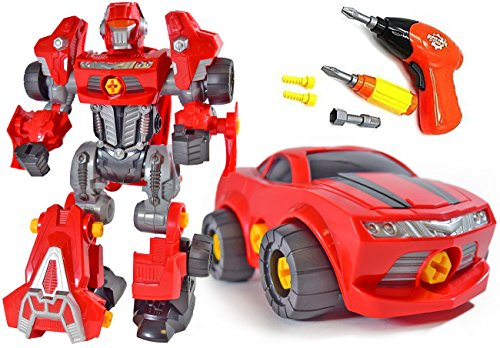 CoolToys Take-A-Part Robot - Mini Robot and Car Transform into Mega Robot with Electric Play Drill and Tools