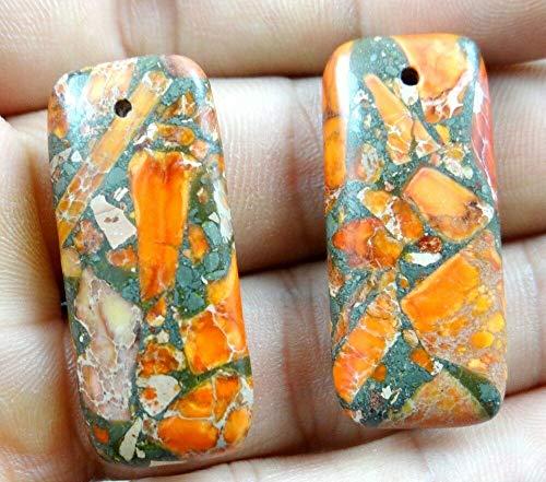 (2PCS Sea Sediment Jasper PyriteпјЊlapis Lazuli Pendant Gemstone Necklace d1 (Color - NO.5))
