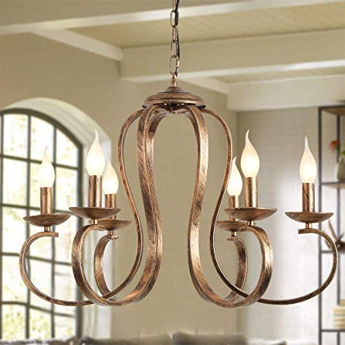 Ganeed Bronze Chandeliers,Retro Iron Pendant Chandelier,6-Lights Candle Rustic Hanging Light,Industrial Farmhouse Ceiling Pendant Light Fixture,Adjustable Height Kitchen Island Lighting