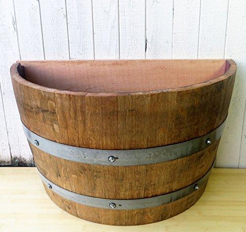 Lacquer finished Oak wood Quarter Wine BarrelPlanter, 26