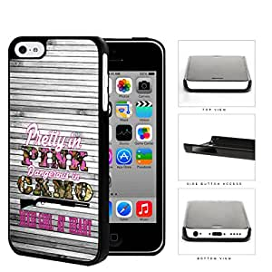 Pretty in Pink Dangerous in Camo Dixie Girl at Heart Quote with Grey Wood iPhone 5c Hard Snap on Plastic Cell Phone Case Cover