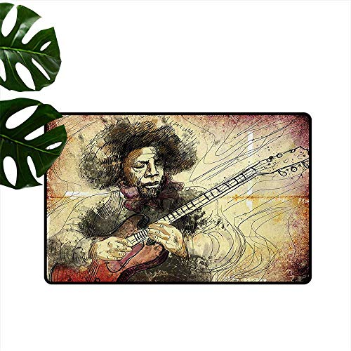 (Home Custom Floor mat,Guitar Virtuoso Hand Drawn Style Illustration of a Guitar Player Musician 20