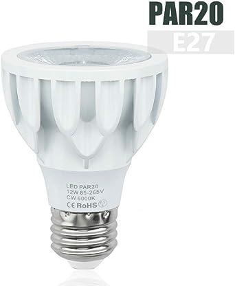 Luxvista 12W PAR20 Bombilla LED E27 Luz Foco Blanco Cálido 3000K ...