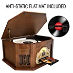 Boytone BT-25MB 8-in-1 Natural Wood Classic Turntable Stereo System with Bluetooth Connection, Vinyl Record Player, AM/FM, CD, Cassette, USB, SD Slot. 2 Built-in Speakers, Remote Control, MP3 Player 7